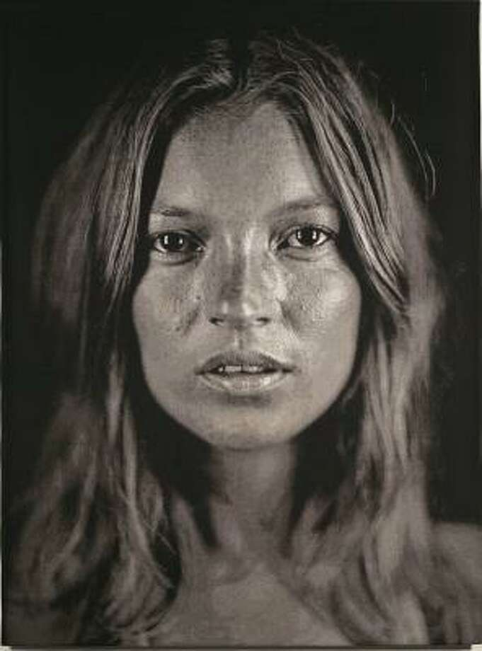 Chuck Close's revealing photo of model Kate Moss was printed using digital weaving techniques to create a jacquard tapestry made up of 17,800 threads. Photo: BARBARA DAVIS GALLERY