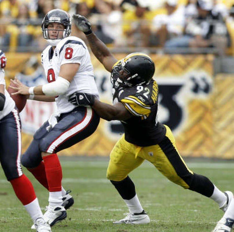 Texans quarterback Matt Schaub (8) will try to rebound from his three-turnover performance against Pittsburgh. Photo: Brett Coomer, Chronicle