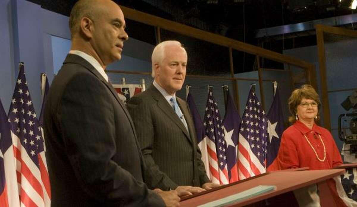 Rep. Rick Noriega, left, incumbent Sen. John Cornyn and Libertarian Yvonne Schick Thursday.