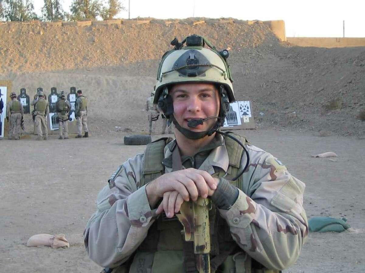 Navy SEAL Brian Bill at target practice around 2004.