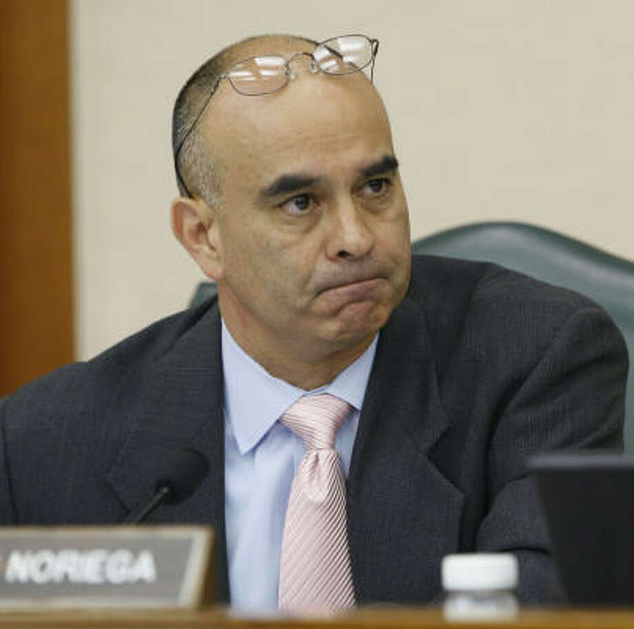 State Rep. Rick Noriega, D-Houston, shown in the Texas Legislature last year, declined to discuss the Chicago meeting he had with Barack Obama. Photo: Harry Cabluck, Associated Press File