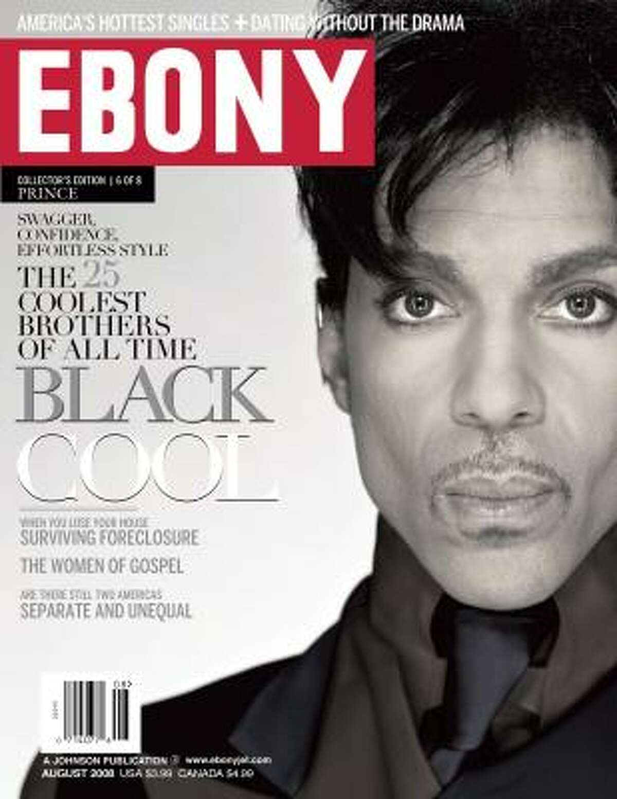 Prince is featured on one of eight covers of the August issue of Ebony magazine.