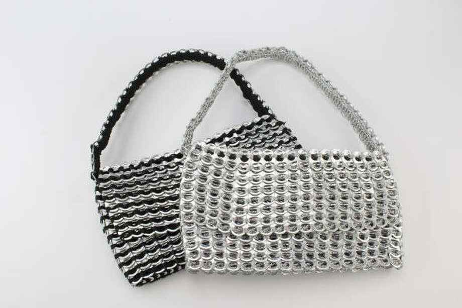 Escama handbags: silk crochet with aluminum cans lids, $95 apiece, from High Gloss, Uptown Park. Photographed in the Chronicle studio Thursday, Dec. 11, 2008, in Houston.( Nick de la Torre / CHRONICLE ) Photo: Nick De La Torre, CHRONICLE