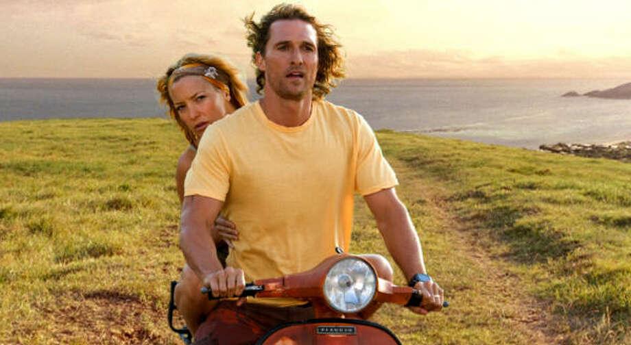 "Matthew McConaughey stars as Ben ""Finn"" Finnegan and Kate Hudson stars as Tess Finnegan in the romantic comedy adventure Fool's Gold. Photo: Vince Valitutti, Warner Bros."
