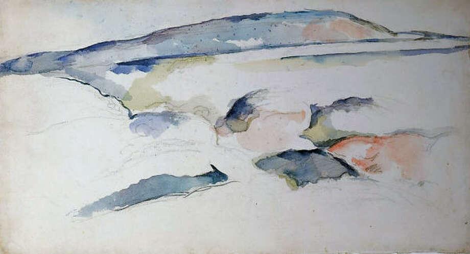 Paul Cezanne's 1895 watercolor  Montagne (Mountain). Photo: The Menil Collection