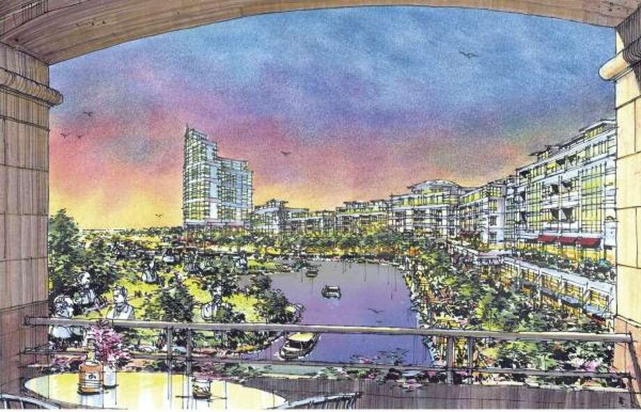 An artist's concept shows the WaterLights District in Pearland, which would include a waterway, condominiums, hotels, office buildings and a facility that would promote nanotechnology development. Photo: HISTORIC REAL ESTATE