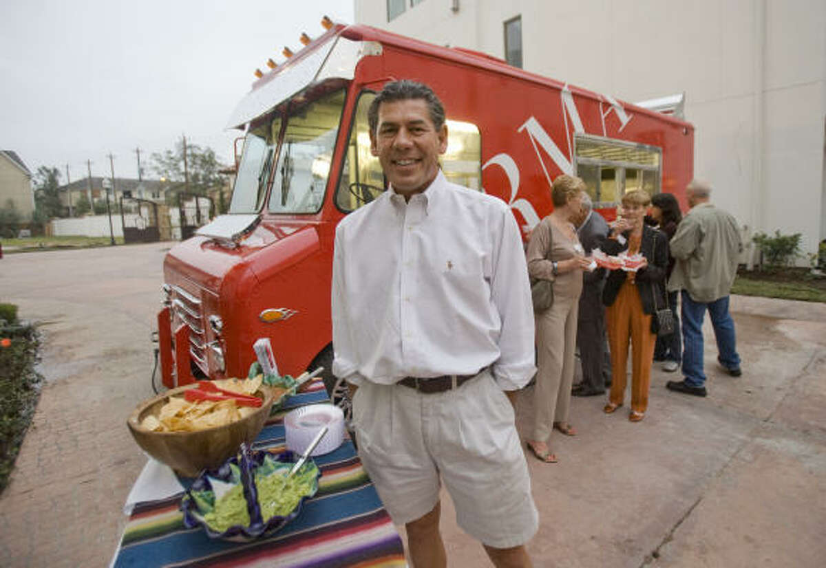 Armando Palacios is the owner of Armandos and of the taco truck. Armandos, an upscale Mexican restaurant in the River Oaks area, has taken a taco truck and added top of the line appliances and an elegant paint job.