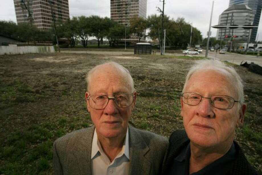 "Jock, left, and James Collins are challenging the city's plans to acquire their land for a ""pocket park""on the edge of a large, upscale redevelopment project. Photo: ERIC KAYNE, CHRONICLE"