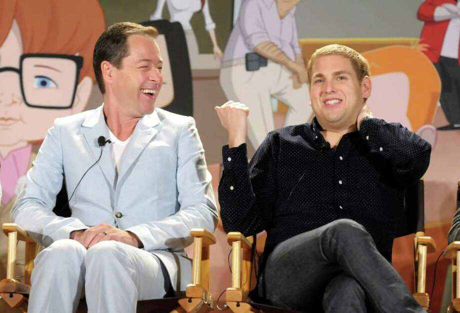 "Actor Jonah Hill, right, speaks as actor French Stewart looks on during a panel at the The Television Critics Association 2011 Summer Press Tour in Beverly Hills, Calif. on Friday, Aug. 5, 2011. Stewart and Hill are voice actors in the new animated television series ""Allen Gregory"" on FOX. Photo: AP"