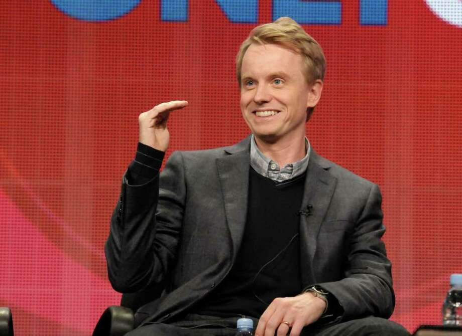 "Actor and writer David Hornsby speaks during a panel at the The Television Critics Association 2011 Summer Press Tour in Beverly Hills, Calif. on Wednesday, Aug. 3, 2011. Hornsby writes for and stars in the television series ""How to Be a Gentleman"" on CBS. Photo: AP"
