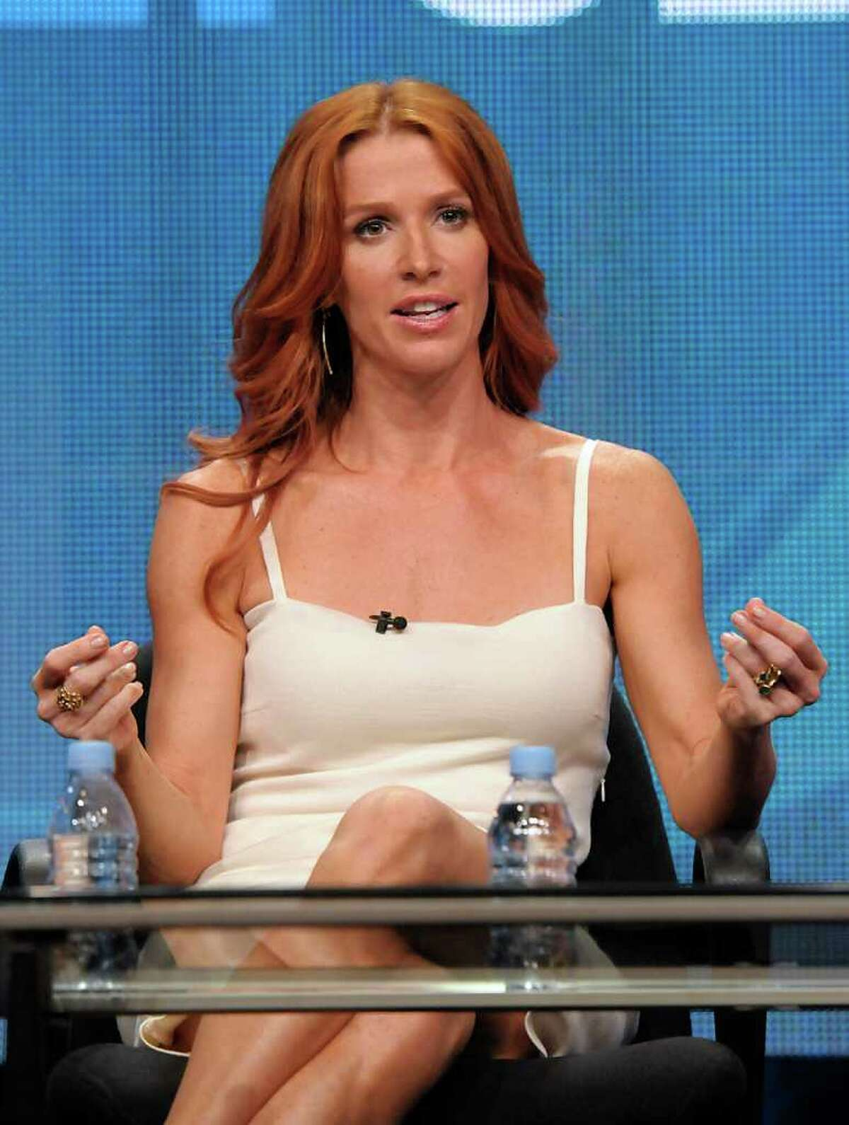Actress Poppy Montgomery speaks during a panel at the The Television Critics Association 2011 Summer Press Tour in Beverly Hills, Calif. on Wednesday, Aug. 3, 2011. Montgomery stars in the television series