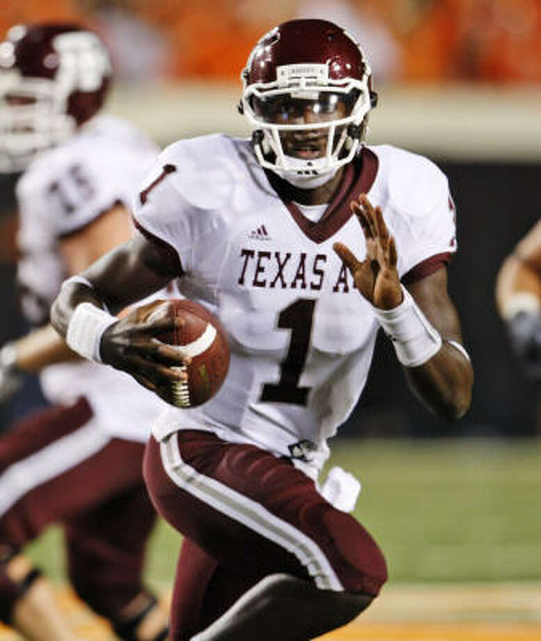 The emergence of quarterback Jerrod Johnson has been one of the few bright spots in Texas A&M's season. The sophomore from Humble has started only five games but already has two of the top four passing performances in school history. Photo: Sue Ogrocki, AP