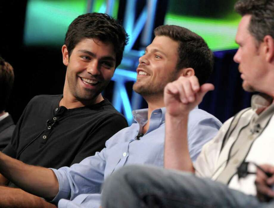 "ADDS MAN AT RIGHT IS ACTOR KEVIN DILLON -- Actors Jerry Ferrara, center, Kevin Dillon right, and Adrian Grenier speak during The Television Critics Association 2011 Summer Press Tour in Beverly Hills, Calif. on Thursday, July 28, 2011. Ferrara and Grenier star in the series ""Entourage"" on HBO. Photo: AP"