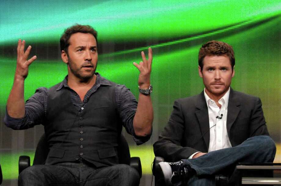 "Actor Jeremy Piven, left, and actor Kevin Connolly speak during The Television Critics Association 2011 Summer Press Tour in Beverly Hills, Calif. on Thursday, July 28, 2011. Piven and Connolly star in the series ""Entourage"" on HBO. Photo: AP"
