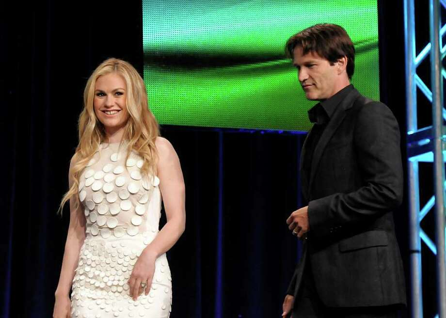 "Actress Anna Paquin, left, and actor Stephen Moyer arrive at The Television Critics Association 2011 Summer Press Tour in Beverly Hills, Calif. on Thursday, July 28, 2011. Moyer and Paquin star in the series ""True Blood"" on HBO. Photo: AP"
