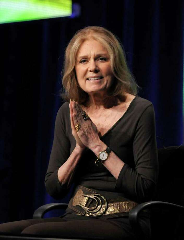 "Activist Gloria Steinem speaks during The Television Critics Association 2011 Summer Press Tour in Beverly Hills, Calif. on Thursday, July 28, 2011. Steinem is profiled in the upcoming documentary ""In Her Own Words"" on HBO. Photo: AP"
