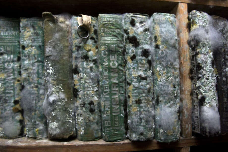 Mold has damaged books on the lower floors of the Rosenberg Library, home of the Galveston and Texas History Center. Photo: Johnny Hanson, Chronicle