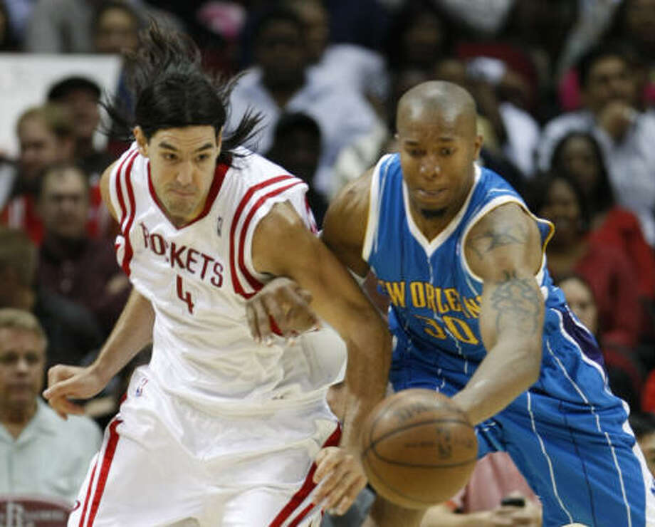 Luis Scola and the Rockets will have a hole in the lineup in New Orleans with Ron Artest unavailable. Photo: Nick De La Torre, Chronicle