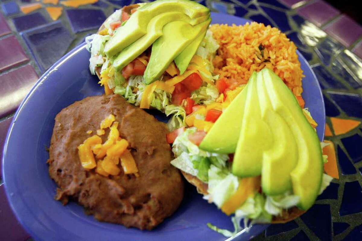 The Chalupa Plate is among the well-made Tex-Mex standards at the Original Donut Shop.