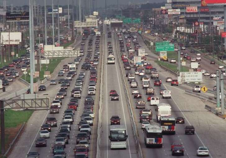 Four toll lanes that will occupy the middle lanes of the Katy Freeway (shown in 2001) are expected to open in October.