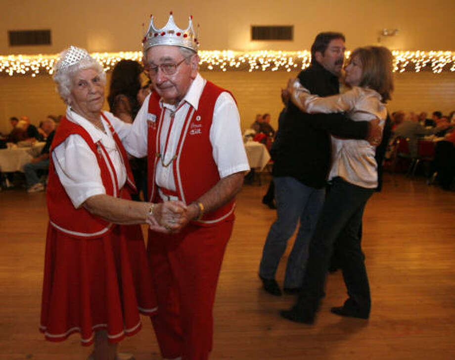 Bill and Annie Mae Cernoch dance at the SPJST Hall. Brothers Anton Vrazel, 81, Alfred Vrazel, 68, and their six-member band have been performing polka music with inflections of their Czech heritage at dance halls, folk festivals and country stores throughout much of Texas for 55 years. Photo: Karen Warren, Chronicle