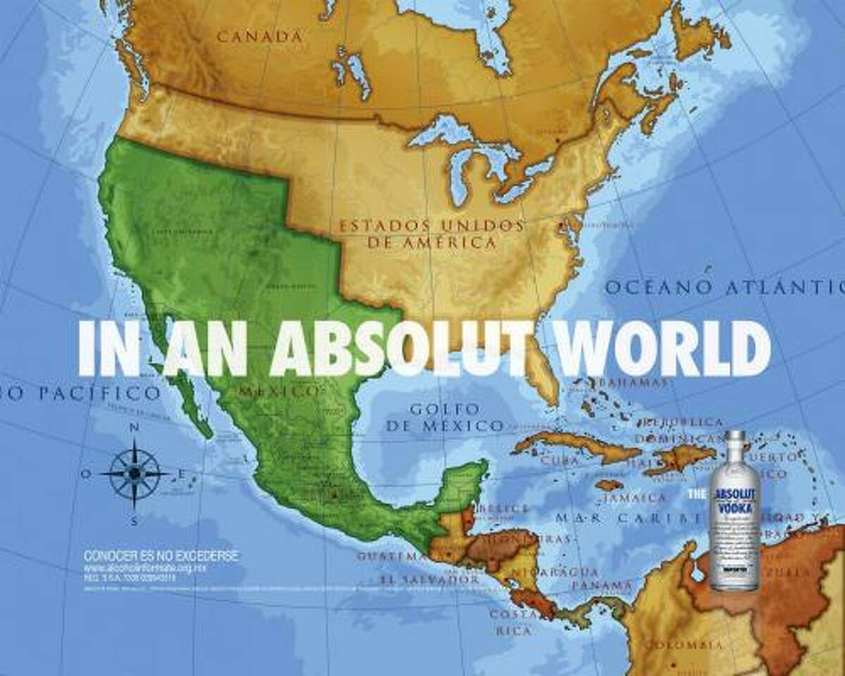 In this image released by the Mexican advertising firm of Teran/TBWA on April 7, an advertisement created for Swedish Absolut Vodka, which ran in Mexico, shows a map of the border of Mexico and the United States where it stood before the Mexican-American War of 1848.