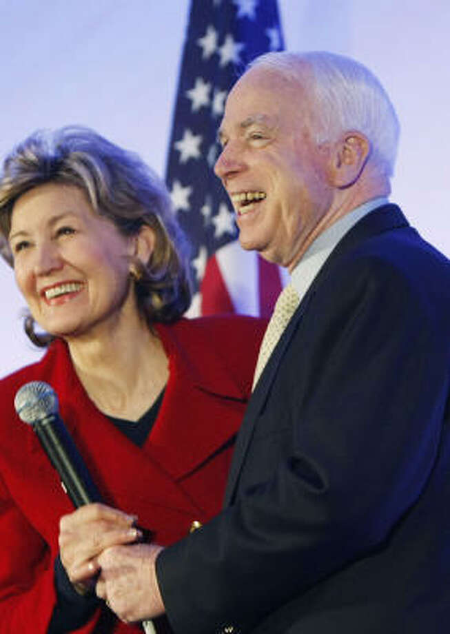Some say Sen. Kay Bailey Hutchison, shown with John McCain in Round Rock in February, could draw disaffected Hillary Clinton supporters. Photo: Gerald Herbert, Associated Press