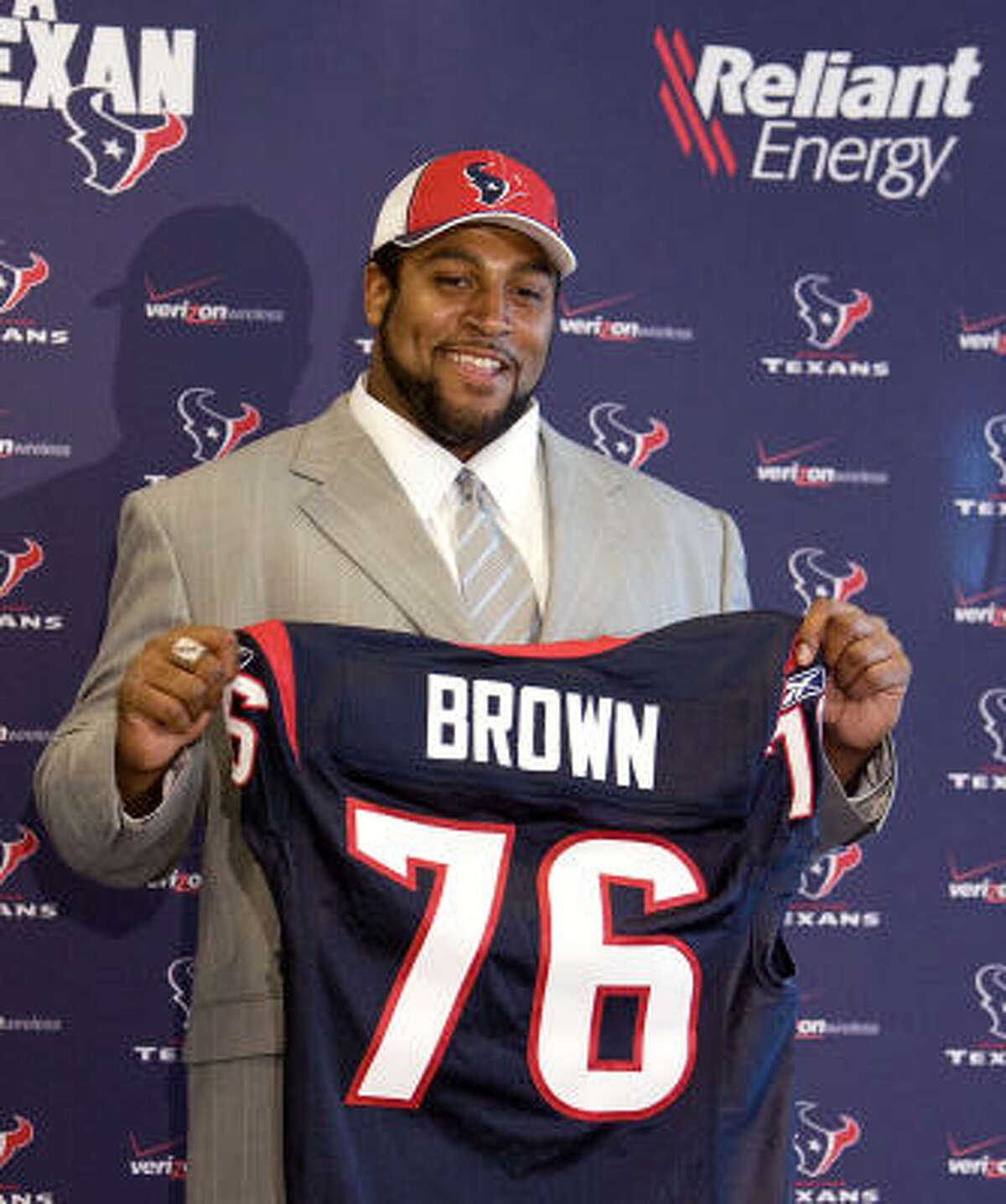 2008:Duane Brown, offensive tackle, Virginia Tech  Draft slot: 26th overall Games played/started for Texans: 133/133 (2008-2017) Honors: First-team All Pro (2012), three-time Pro Bowl selection (2012-14). Immediate impact: During his rookie season, the Texans climbed to third in the NFL in total offense, up from 13th in 2007, and improved from 22nd to 14th in rushing as fellow rookie Steve Slaton ran for a career-high 1,282 yards. But quarterback Matt Schaub would be sacked 23 times, seven more than in 2007. Grade: B Overall assessment: Save for the quarter-season he missed in 2010, when a failed drug test cost him a four-game suspension, he was a rock at left tackle until last fall, when a broken hand followed by a season-ending torn quad kept him from playing at the level he'd become accustomed to. After a lengthy holdout, the Texans traded Brown to the Seahawks this season. Grade: A Player Texans could have drafted instead: Receiver Jordy Nelson, who was taken 36th overall and had 400 catches for the Packers before suffering a torn ACL during the preseason last summer.
