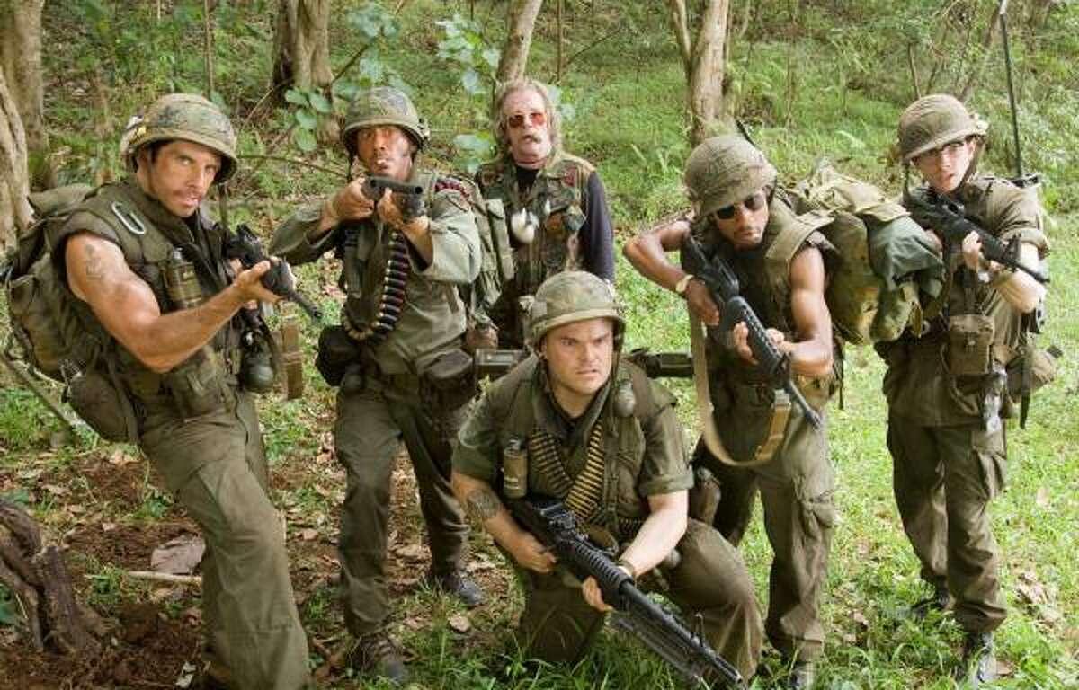 From left, Ben Stiller, Robert Downey Jr., Nick Nolte, background center, Jack Black, foreground, Brandon T. Jackson and Jay Baruchel star in Tropic Thunder.