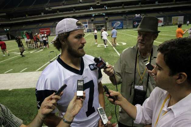 Cowboys quarterback Stephen McGee spaeks with reporters on Tuesday, Aug. 9, 2011 after Dallas' morning walkthrough practice during training camp at the Alamodome. Photo: John Davenport/jdavenport@express-news.net