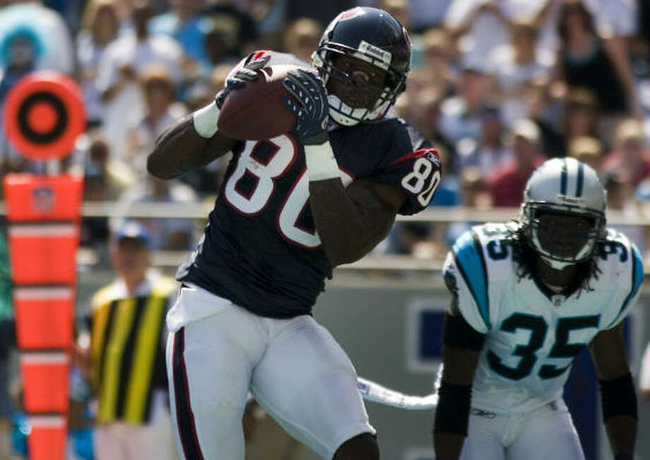 Andre Johnson's two touchdown receptions got the Texans back in the game after a slow start. Photo: Smiley N. Pool, Chronicle