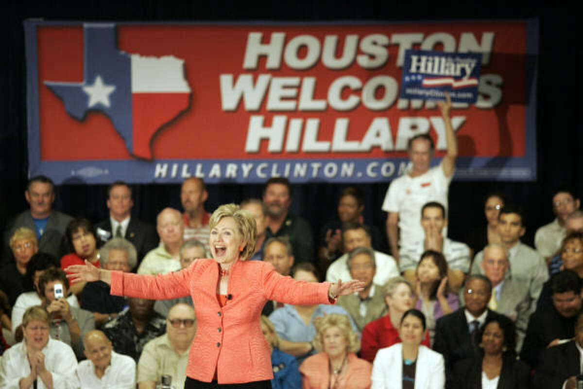 New York Sen. Hillary Rodham Clinton drew about 1,000 people to the Communication Workers of America Hall in Houston today.