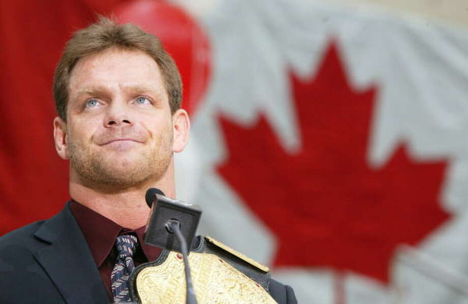 Wrestler Chris Benoit speaks during Chris Benoit Day at City Hall in Edmonton, Alberta, Canada, in 2004. Benoit was found dead at his suburban Atlanta home along with his wife Nancy and son. Photo: DARRYL DYCK, AP