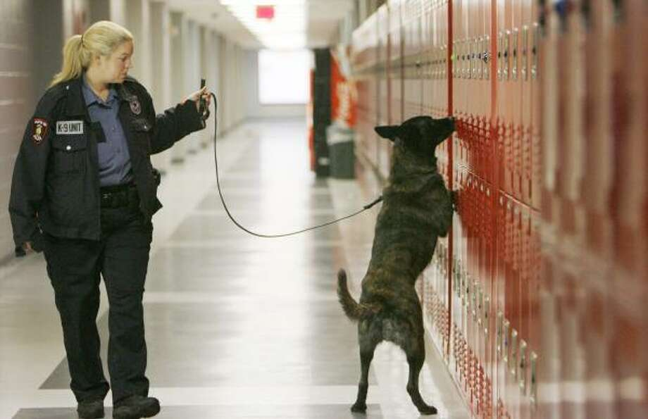 HISD police officer Stephanie Clinton and her drug-sniffing dog, Reno, inspect a Houston-area school Dec. 13. Photo: SHARÓN STEINMANN, CHRONICLE