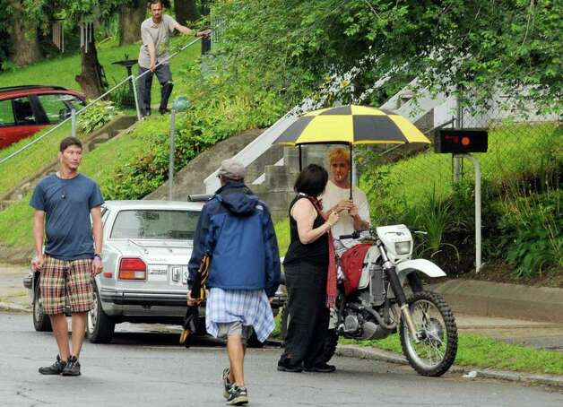 "Actor Ryan Gosling on the set of  ""The Place Beyond The Pines""  on Watt Street in Schenectady, NY, on Tuesday, Aug. 9, 2011.( Michael P. Farrell/Times Union archive) Photo: Michael P. Farrell"