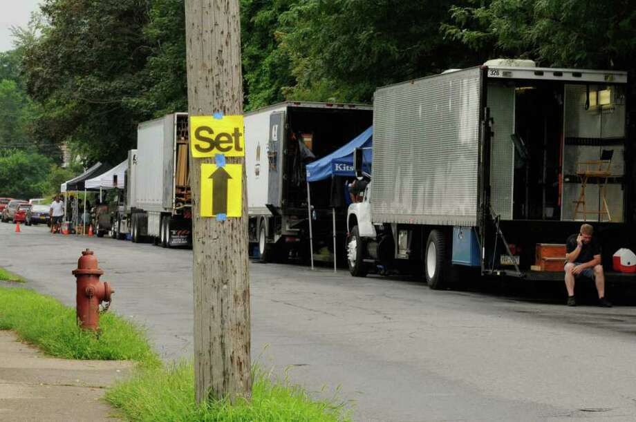 "Equipment trucks lined up on the set of  ""The Place Beyond The Pines"" on Watt Street in Schenectady, NY, on Tuesday, Aug. 9, 2011.( Michael P. Farrell/Times Union) Photo: Michael P. Farrell"