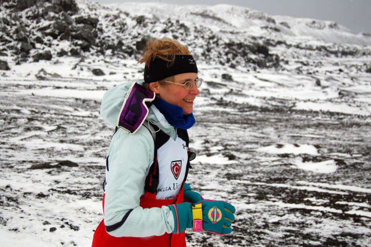 Carol Young covers ground in an unsuccessful bid to finish her 16th marathon. She was able to cover enough ground for a half-marathon, however.