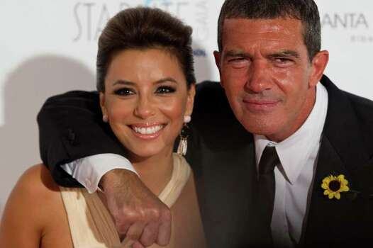 MARBELLA, SPAIN - AUGUST 06:  Actress Eva Longoria and actor Antonio Banderas arrive for the Starlite Charity Gala at the Villa Padierna hotel on August 6, 2011 in Marbella, Spain. Photo: Daniel Perez, Getty Images / 2011 Getty Images