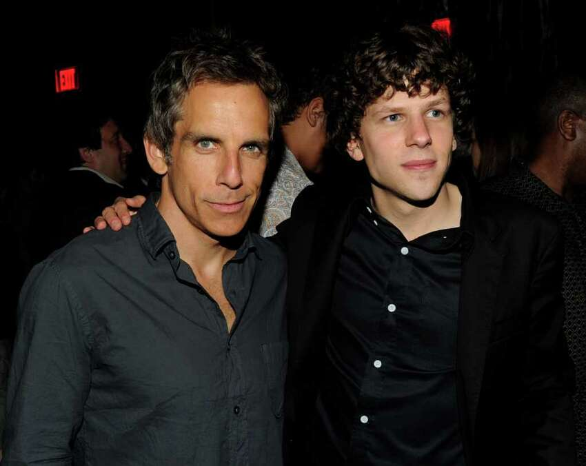 Producer Ben Stiller (L) and actor Jesse Eisenberg pose at the after party for the premiere of Columbia Pictures'
