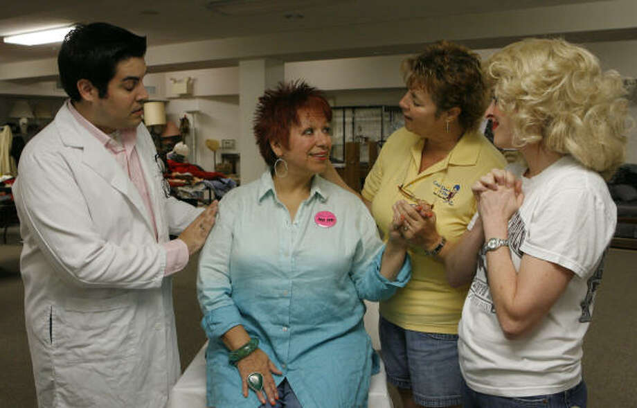 "Andrew Alegria, Jada August, Rhonda Moore and Sarita Scherpereel practice a scene from the Bering and Friends production of ""The Gospel According to Tammy Faye"". Photo: Steve Campbell, Chronicle"