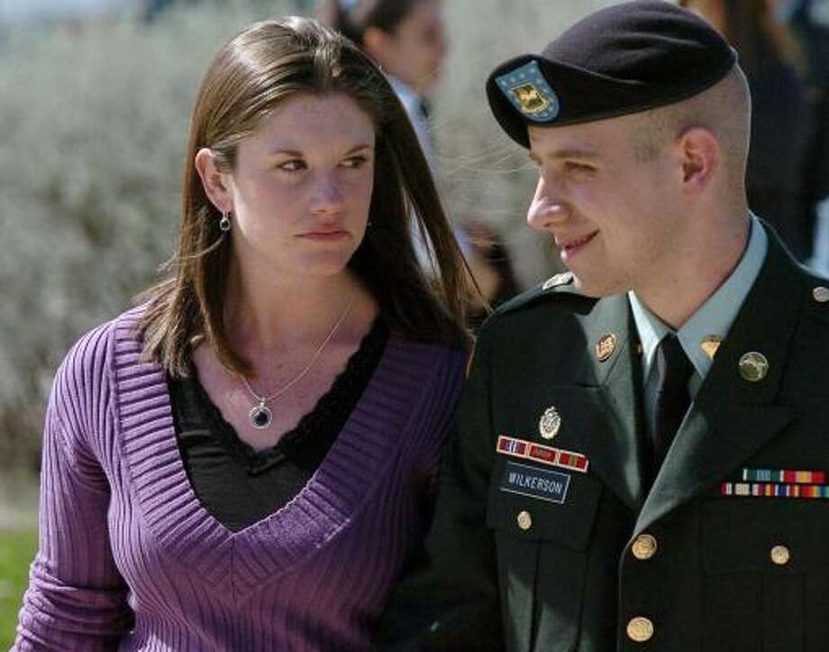 Spc. Mark Wilkerson, with his wife Sarah, is the Fort Hood soldier punished for shirking combat duty in Iraq. Photo: Steve Traynor, AP/Killeen Daily Herald