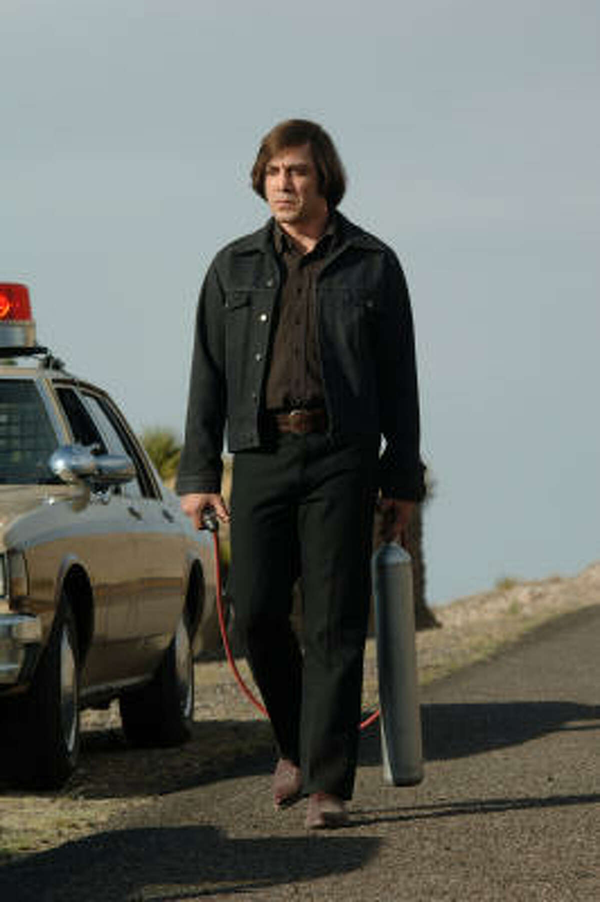 Javier Bardem stars as Anton Chigurh in No Country for Old Men.
