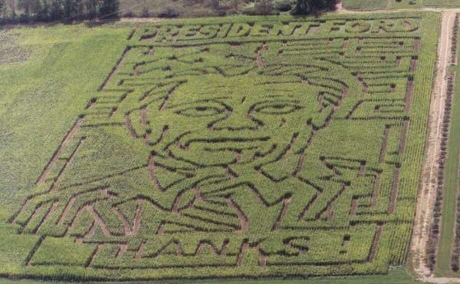 A maze at a cornfield at Gull Meadow Farms near Richland, Mich., says ``PRESIDENT FORD'' across the top and ``THANKS'' below. Photo: Dawn Wendzel, Gull Meadow Farms