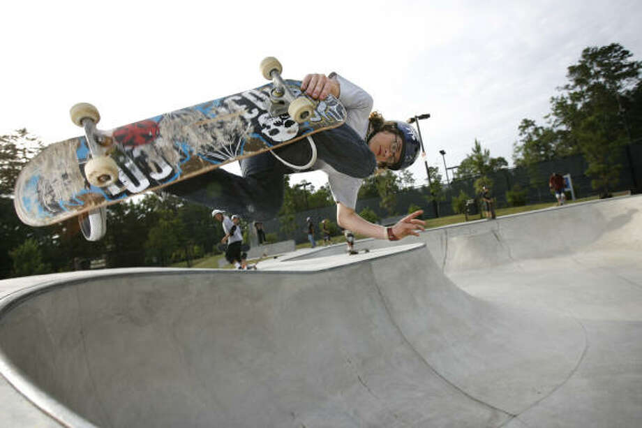 Ben Raybourn skates at The Woodlands skatepark in Bear Branch Park. A new skatepark could be coming to Houston. Photo: Kevin Fujii, Houston Chronicle
