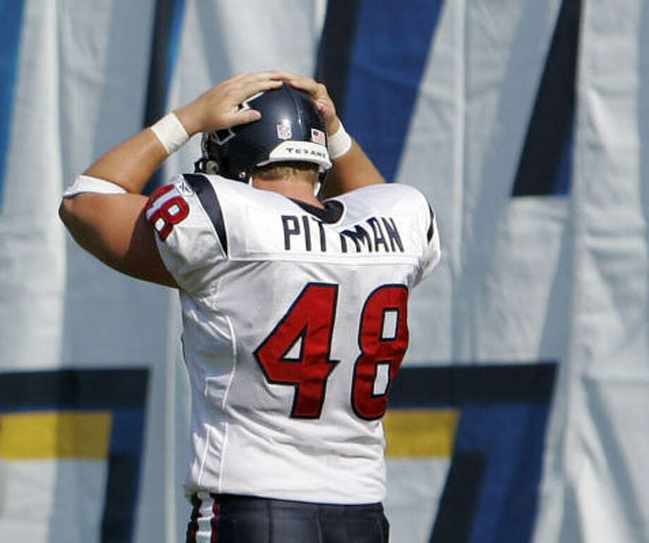 Texans long snapper Bryan Pittman says the punt team's call was changed shortly before his snap over Matt Turk's head. Photo: Mark J. Terrill, AP