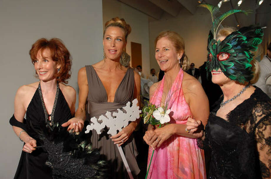 Marcy Taub Wessel, from left, Janet Hobby, Leslie Elkins Sasser and Louisa Stude Sarofim chaired the gala, which raised $2.4 million. Close to 600 guests filled a party tent on the museum lawn. Photo: Dave Rossman, For The Chronicle