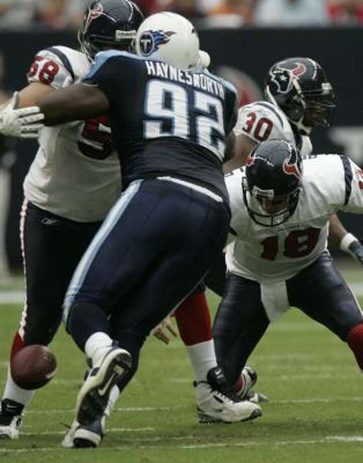Texans backup quarterback Sage Rosenfels mixed some bad with a lot of good Sunday. Among the bad: four turnovers, including a lost fumble in the second quarter. Photo: Brett Coomer, Chronicle