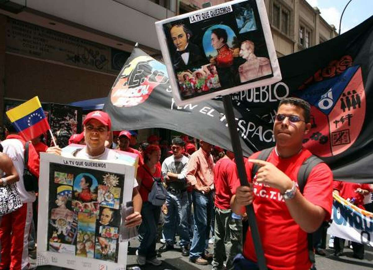 Chavez supporters take to the streets in Caracas last week in favor of his decision to shut down RCTV. The TV station has been broadcasting since 1954.