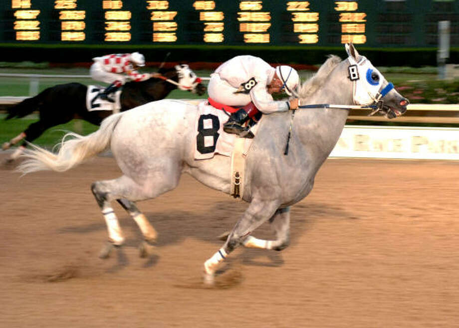 Jockey Arturo Puga is on a hot streak at Sam Houston Race Park that includes guiding Gray Invasion, left, to a TQHA 550 Stakes victory. Photo: Coady Photography