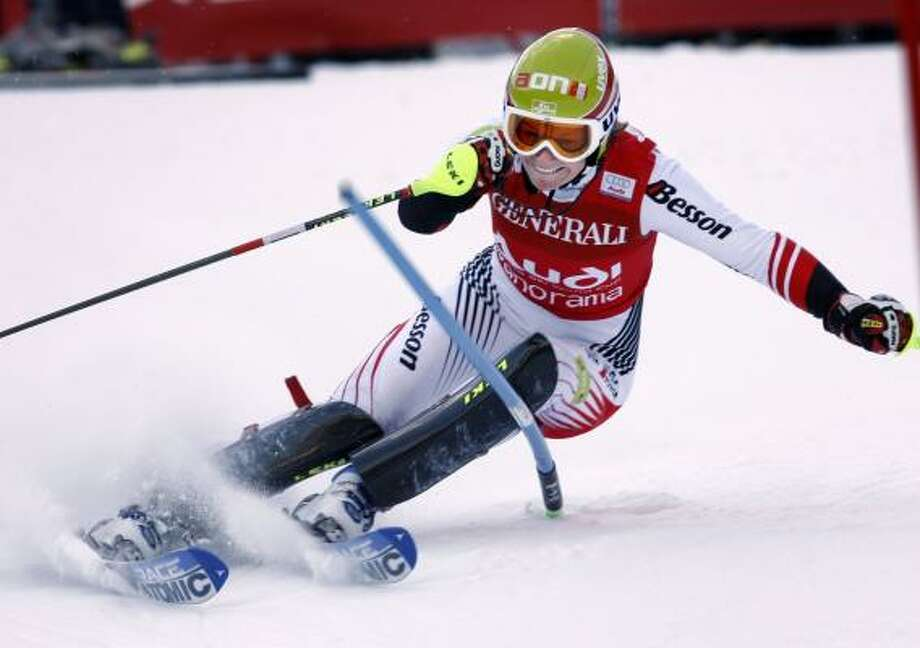 Marlies Schild, of Austria, winds her way to victory in the women's World Cup slalom at Panorama, British Columbia. Photo: JEFF McINTOSH, ASSOCIATED PRESS